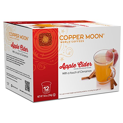 Ice Apple Cider - Copper Moon Cider Single Serve Pods for Keurig 2.0 K-Cup Brewers, Apple Cider, Cinnamon Spiced Hot Apple Cider A Great Holiday or Wintery Treat, 12 Count