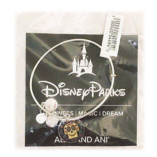 Disney Parks Alex and Ani Coco Skull Charm Bangle Bracelet (Silver)
