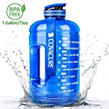 Covacure 1 Gallon Water Bottle with Time Marker - Reusable 360°Leak-Proof Drinking Water Jug for Gym Fitness, Camping, Hiking