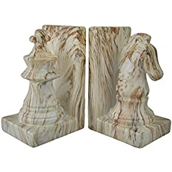 White and Brown Marble Finish Ceramic Chess Piece Bookends by Zeckos