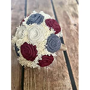 Ivory, Burgundy, Dark Grey Wedding Bouquets (Choose Bridesmaids + Bridals) Rustic Bouquets, Burlap Bouquets, Rustic Wedding Bouquets, Burlap Wedding Bouquets, Bouquets, Purple Bouquet 18