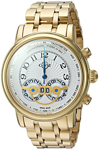 GV2 by Gevril Montreux Mens Chronograph Swiss Quartz Tachymeter Round Case Gold Tone Stainless Steel Watch, (Model: 8102B) ()