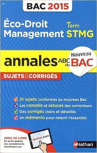Livre gratuits Annales ABC du BAC 2015 Eco - Droit - Management Term STMG epub, pdf