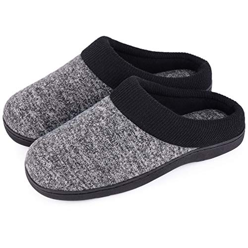 Women's Comfort Slip On Memory Foam Slippers French Terry Lining House Slippers w/Anti Slip Sole (5-6 M US, Dark Gray)