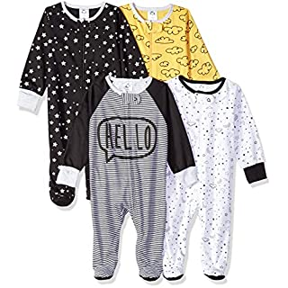 Gerber Baby Boys' 4 Pack Sleep N' Play Footie, Star, 0-3 Months