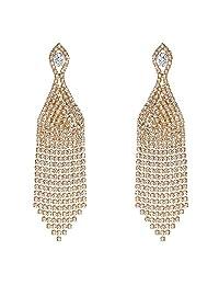 BriLove Women's Wedding Bridal CZ Crystal Beaded Tassel Fringe Chandelier Dangle Earrings