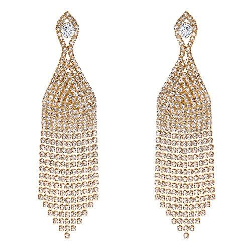 - BriLove Wedding Bridal Dangle Earrings for Women Beaded Tassel CZ Crystal Fringe Chandelier Earrings Clear Gold-Toned