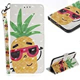 Cistor Wallet Case for iPhone 7/8,Stylish 3D Painting Strap Stand Flip Cover Shockproof PU Leather Protective Case with Card Slot Magnetic Closure for iPhone 7/8,Pineapple