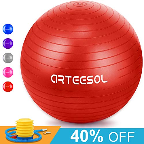 (Arteesol Exercise Yoga Ball, Extra Thick Stability Ball Chair(45CM-77CM / 5 Colours), Professional Grade Anti Burst & Slip Resistant Balance, Fitness&Physical Therapy, Birthing Ball with Air Pump)