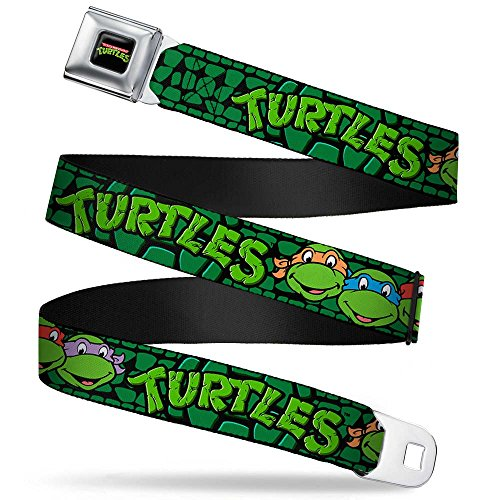 Buckle-Down Seatbelt Belt - Classic TMNT Group Faces/TURTLES Turtle Shell Black/Green - 1.0