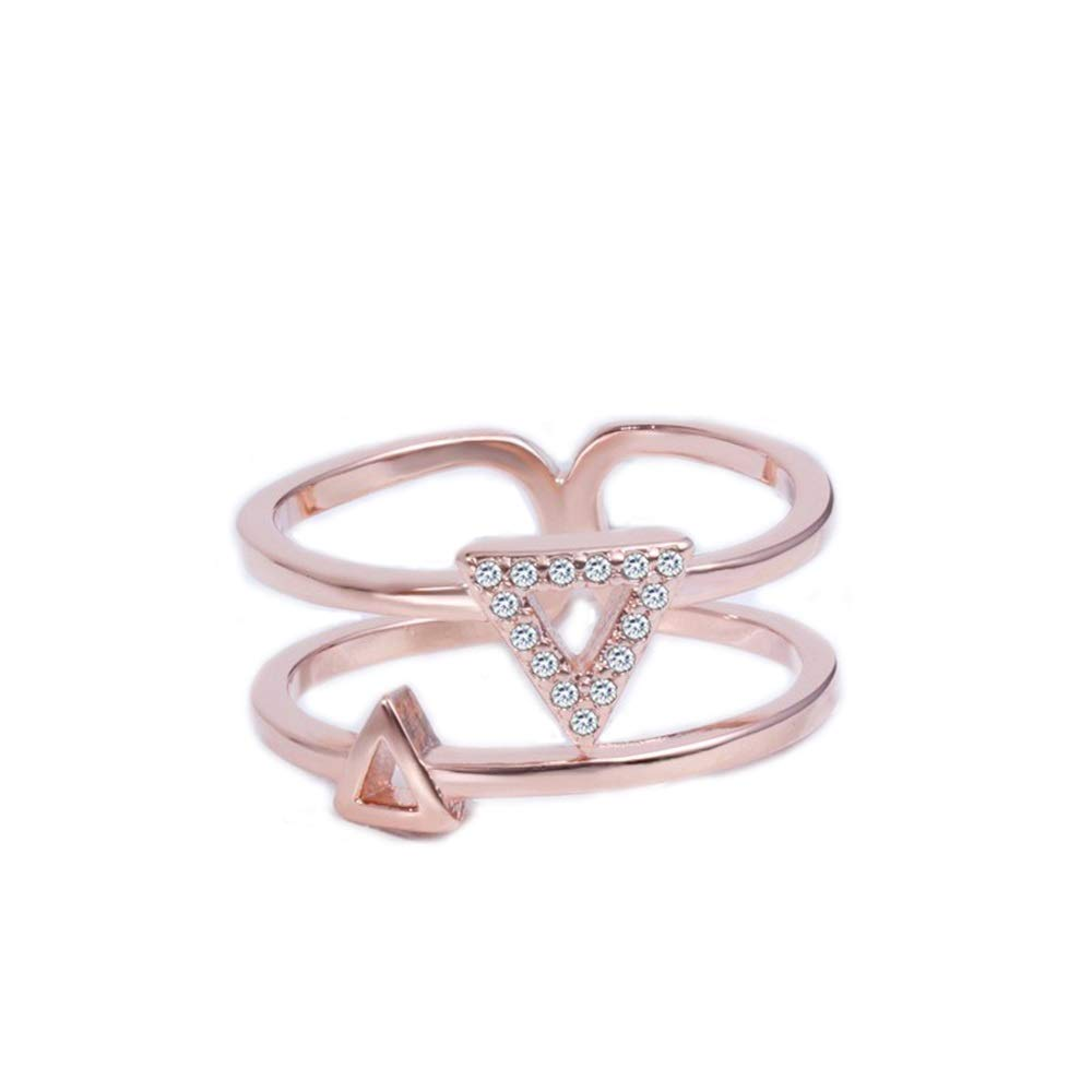 V-MONI Fashion Korean Double-Layer Asymmetric Triangle Ring Micro-Inlaid Geometric Lady Tail Ring Factory Wholesale 16 Plated with Platinum