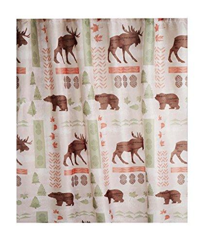 Wilderness Fabric Shower Curtain Wildlife Bear Moose Design