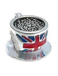 Sterling Silver British Tea Cup Britain Flag Union Jack Tea Cup Bead For European Chamilia Biagi Troll Pandora Charm Bracelets