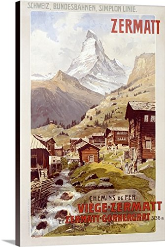 Canvas On Demand Premium Thick-Wrap Canvas Wall Art Print entitled Swiss Alps, Zermatt, Matterhorn, Vintage Poster, by Anton Reckziegel (Swiss Art)