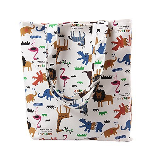 - Nuni Women's Cute Zoo Animal Heavy Duty Canvas Tote Bag (Zip closure)