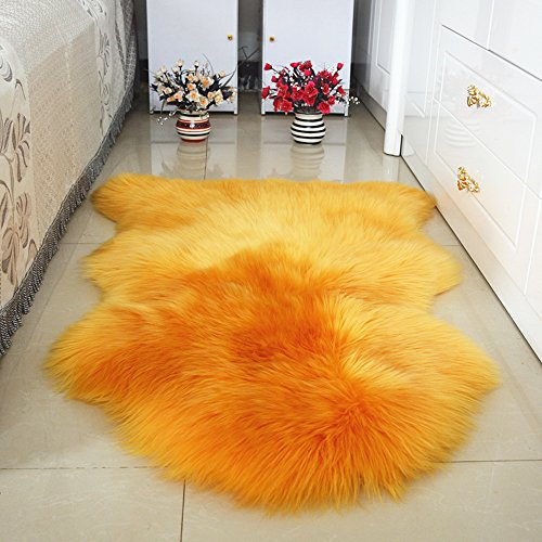 Super Area Rugs, Genuine Australian Sheepskin Rug One Pelt Ivory Natural Fur, Single Sheepskin Chair Cover Seat Approx. 2.1ft. x 3.6ft (Orange) (Orange Rug Sheepskin)