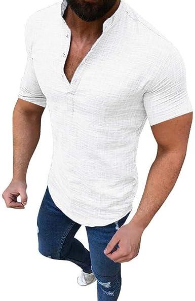 Glaiidy Camisa De Lino Para Cuello Ropa festiva V En Hombre ...