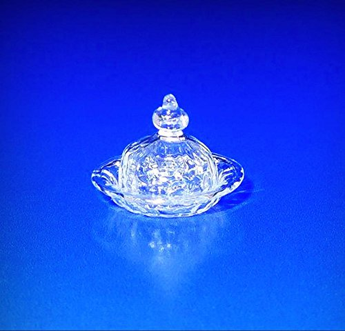 Ferenc Albert Crystal Blown Glass Hobnail Butter Dish Dollhouse Miniature IGMA - My Mini Garden Dollhouse Accessories for Outdoor or House (Albert Crystal)