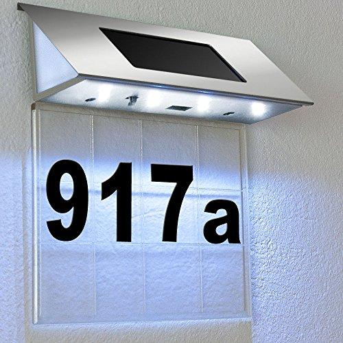 Edelstahl Solarhausnummer mit 4 starken LEDs - Solarleuchte Hausnummernleuchte Transparent - Farbauswahl