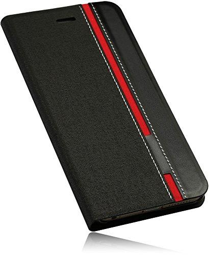 Für Apple iPhone 6 Plus 5.5 NEW Case Hülle in Schwarz/Rot BookStyle Smart PU Leder Handytasche mit Standfunktion Book Wallet mit EC-/ Kreditkarten Facher Tasche
