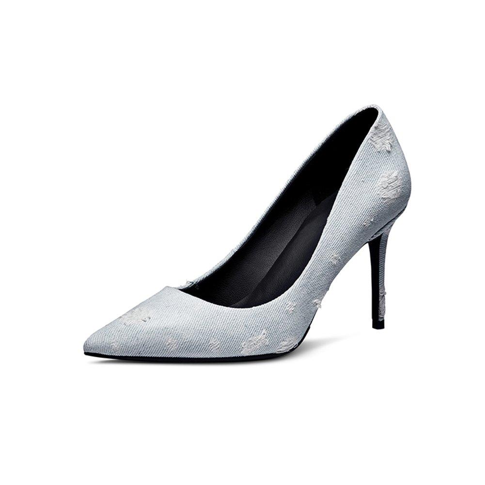 WYYY Damenschuhe High High High Heels Denim Gut mit Flacher Mund Spitze Freizeitschuhe Blau 8,5 cm (Größe   EU36 UK4) a65ba2