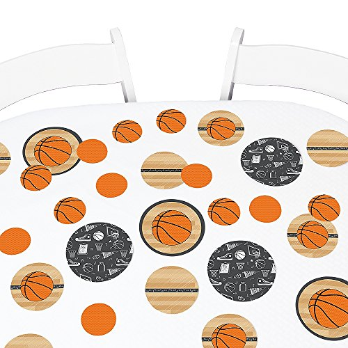 Big Dot of Happiness Nothin' but Net - Basketball - Baby Shower or Birthday Party Giant Circle Confetti - Party Decorations - Large Confetti 27 Count -