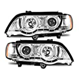 2001 bmw x5 headlights unit - SPPC Projector Headlights Chrome Assembly with Halo Rings for BMW X5 E53 - (Pair) Includes Driver Left and Passenger Right Side Replacement Headlamp