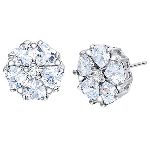 FENDINA 18K White Gold Plated Flower Shaped Earring Studs 5 Hearts Cut Cubic Zirconia Birthstone Earrings for Girls Multi Color