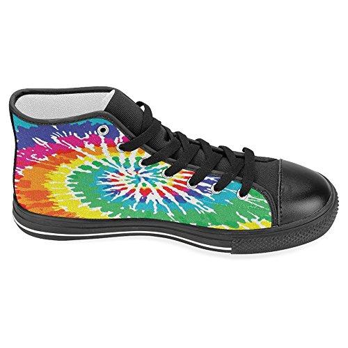 Scarpe Di Tela Donne Di Interesse Scarpe Da Ginnastica Alte Scarpe Basse Sneakers Stringate Moda Forma Tie Dye Nero