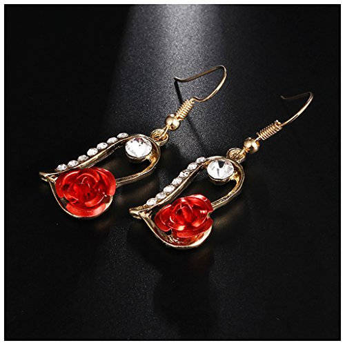 (MIXIA Vintage Red 3D Rose Drop Earrings for Women Statement Dangle Earrings with Crystal Rhinestone (Heart))
