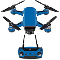 Skin for DJI Spark Mini Drone Combo - Solid Blue| MightySkins Protective, Durable, and Unique Vinyl Decal wrap cover | Easy To Apply, Remove, and Change Styles | Made in the USA