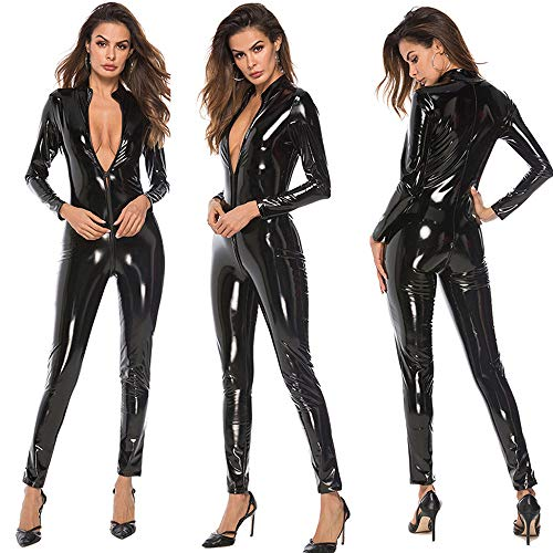 Sanyalei Women's Sexy PU Faux Wet Look Zipper Front Leather Catsuit Teddy Clubwear (Black, M) ()