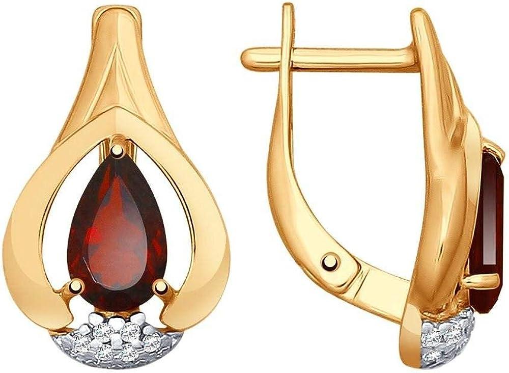 Mirkada - Pendientes de plata 925 para mujer con granate y circonitas, dorados, color rojo