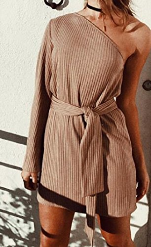 Coolred Women's Solid As1 Mini Sleeve Belt Strappy Long Shoulder Dress One rrdqxHw4