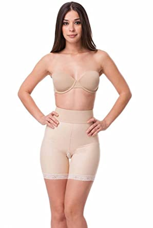 474ece4e47 Isavela Womens 2nd Stage Open Buttock Enhancer Girdle No Zipper Mid Thigh  Length SM Beige