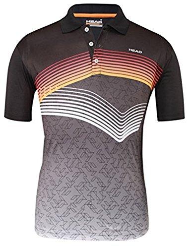 Head Tennis Hybrid Performance Polo T-Shirt HCD235 Series Black/Orange/White Chest Size 36 (Head T Shirt compare prices)