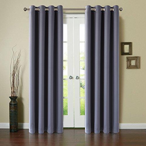 Blackout Window Curtain Panel Grommet Top Drapes 2 Panel Set Room Darkening Thermal Insulated Blackout Window Treatments (52X84inch,Dark Grey)