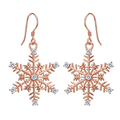 EVER FAITH Women's 925 Sterling Silver CZ Winter Party Snowflake Hook Dangle Earrings Rose Gold-Tone