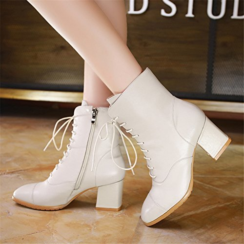 Lace toed Womens Side Up Martin 1 Boots Square Beige MINIVOG Leather Zipper HqBwWRHa