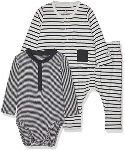 Petit Bateau Baby Boys 3 Piece Set, Striped Bodysuit, Pants, and Cardigan (6 Months)