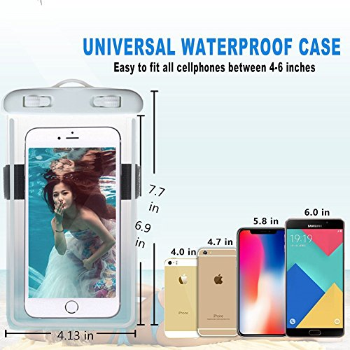 Universal Waterproof Case, Waterproof Phone Pouch Dry Bag with Armband & Neck Strap for iPhone X 8 8Plus 7 7Plus 6S 6SP 6 6Plus, Samsung Galaxy S9/S9 Plus/S8 Plus/Note 8 6 5 up to 6.0'' (White,Black) by CUCIUS (Image #3)