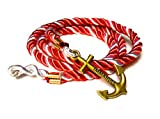 Nautical Nylon Rope Wrap Around Bracelet with Gold Colored Anchor Charm for Men Women Teen 22 Inch