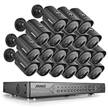 ANNKE AHD 24-Channel DVR Security System 1080N Video Recorder and (20) Indoor/Outdoor IP66 Weatherproof CCTV Surveillance Camera, 100ft IR Night Vision, Motion Detection, Remote Playback, NO HDD