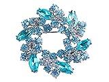 Alilang Womens Diamond Inspired Floral Wreath Holiday Christmas Old Fashion Brooch Pin, Aqua Blue