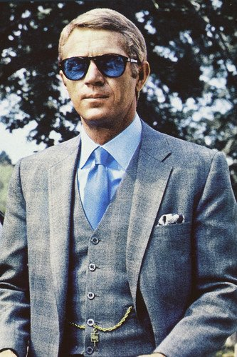 Steve McQueen 24x36 Poster in blue suit and classic blue Persol sunglasses  Thomas Crown Affair at Amazon s Entertainment Collectibles Store 23a6d7e0af1a