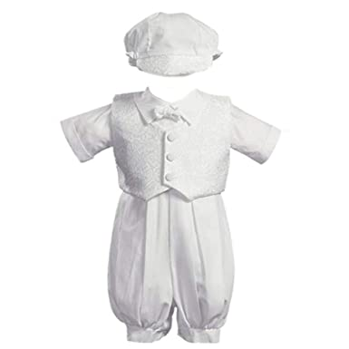 5b2d01a3317 White Poly Cotton Christening Baptism Romper Set with Vest and Hat - Size  XS (0