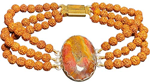 ALDOMIN Natural Energized Picture Jasper with Rudraksh Three Strand Unisex Crystal .925 Sterling Silver Bracelet (8.5 Inches)