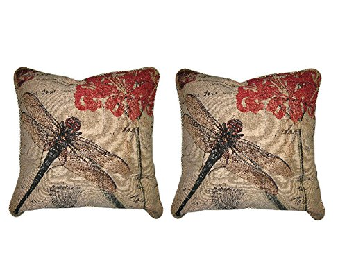 DaDa Bedding Set of Two Dragonfly Dreams Insect Bug Elegant Novelty Woven Square Decorative Throw Toss Accent Cushion Cover Pillow with Inserts - 2-Pieces - 18