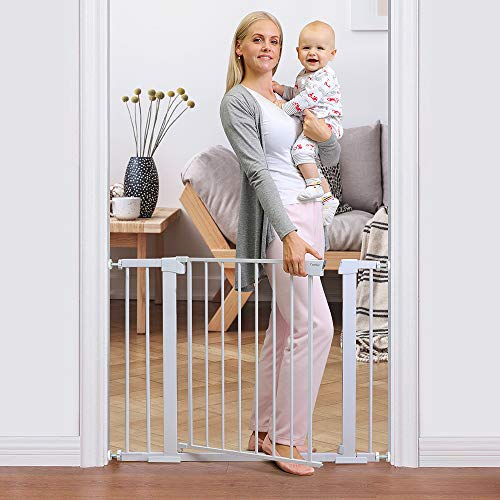 """Cumbor 40.6"""" Auto Close Safety Baby Gate, Durable Extra Wide Child Gate for Stairs,Doorways, Easy Walk Thru Dog Gate for House. Includes 4 Wall Cups, 2.75-Inch and 5.5-Inch Extension, White"""