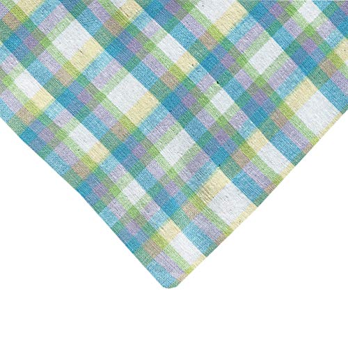 (Lintex Lavender Fields Spring Plaid Cotton Tablecloth, Lilac, Yellow and Green Indoor/Outdoor Summer Fabric Patio, Picnic Tablecloth, 52 x 70)